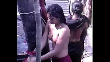 bhabhi outdoor desi bathing village Two brides take facials and share them