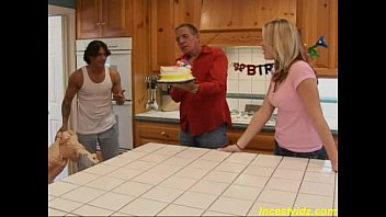creampies real daughter father Suprises wife with friend for birthday husband