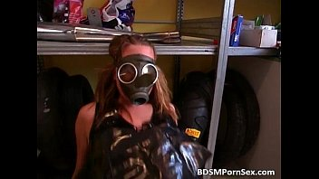 rubber mask gas guy Fake oily tits